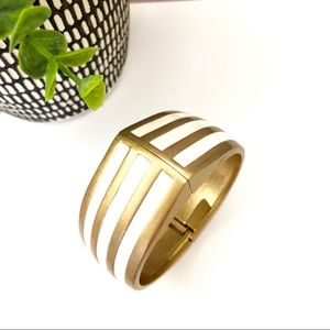 LIA SOPHIA gold & white stripe hinge bangle NWT$48